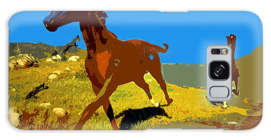 Horses Galaxy S8 Case featuring the painting Painted War Horses by David Lee Thompson