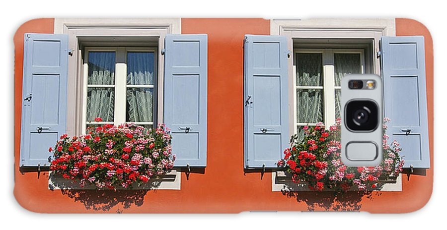 Red Galaxy S8 Case featuring the photograph Pair Of Blue Shutters by Tom Reynen