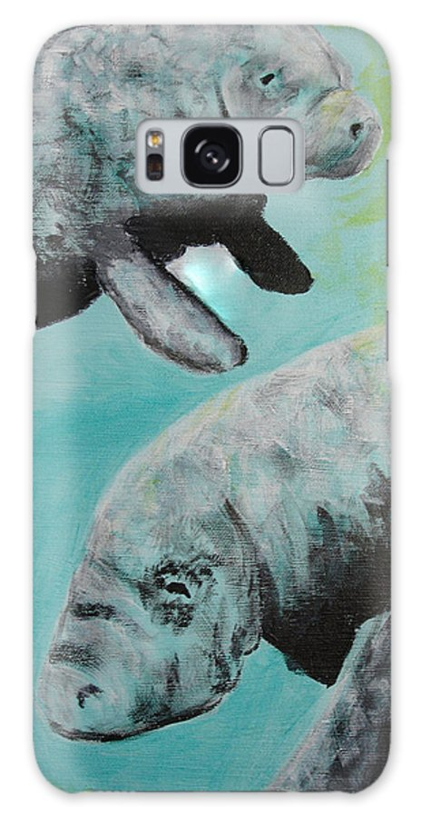 Florida Galaxy Case featuring the painting Pair Of Florida Manatees by Susan Kubes
