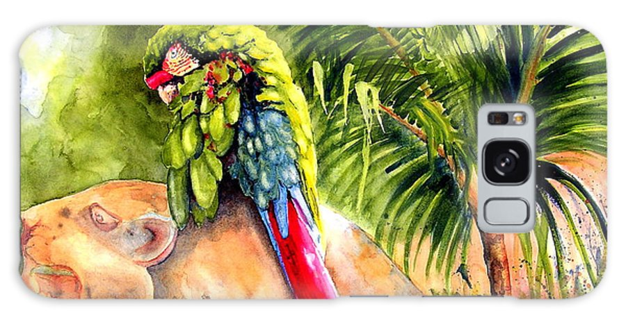 Parrot Galaxy Case featuring the painting Pajaro by Karen Stark