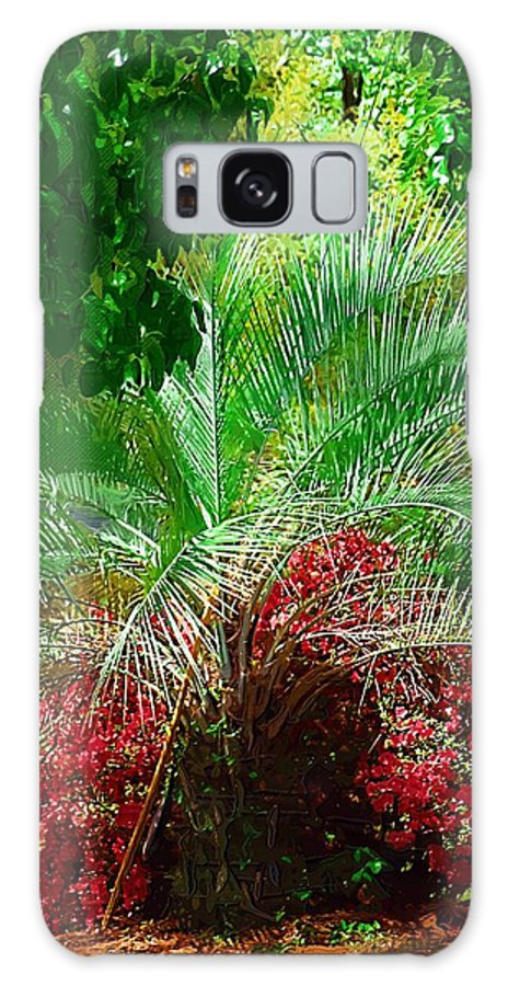 Palms Galaxy S8 Case featuring the photograph Palm And Azaleas by Donna Bentley