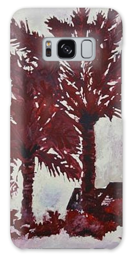 Palm Trees Galaxy S8 Case featuring the painting Palm Trees Acrylic Modern Art Painting by Derek Mccrea