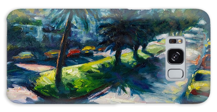 Cityscape Galaxy Case featuring the painting Palm Trees by Rick Nederlof