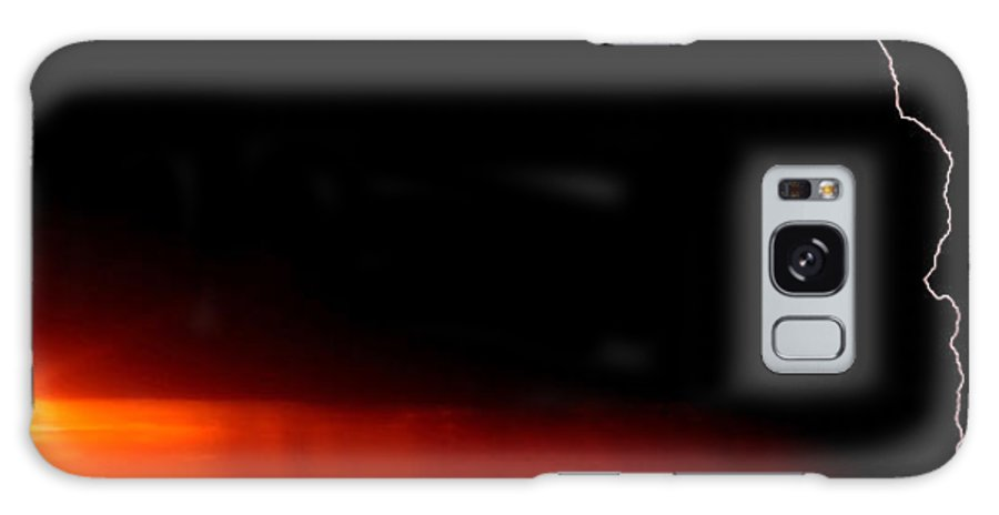 Galaxy S8 Case featuring the digital art Panoramic Lightning Storm And Sunset by Mark Duffy