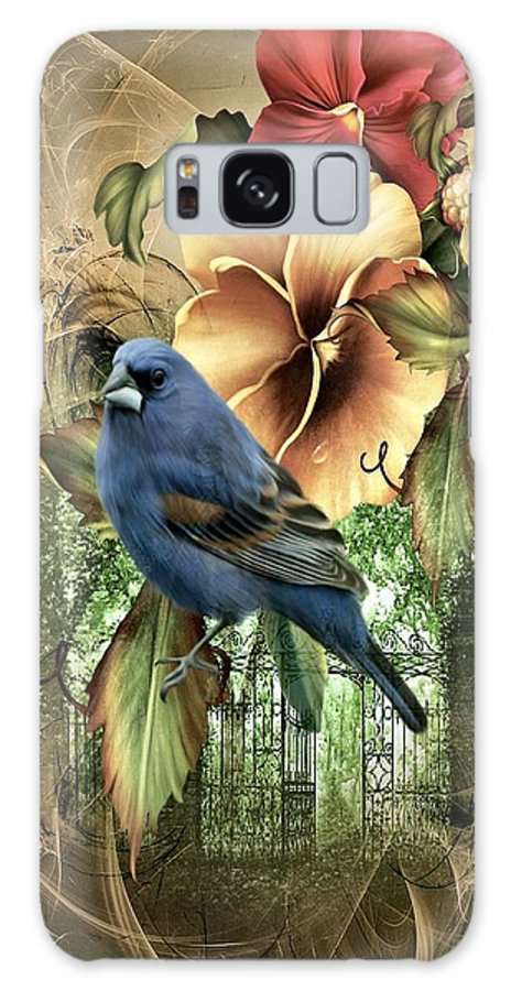 Bird Galaxy S8 Case featuring the photograph Pansies And Bluebird by G Berry