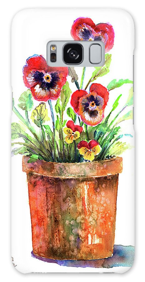 Pansy Galaxy S8 Case featuring the painting Pansies In A Clay Pot by Arline Wagner