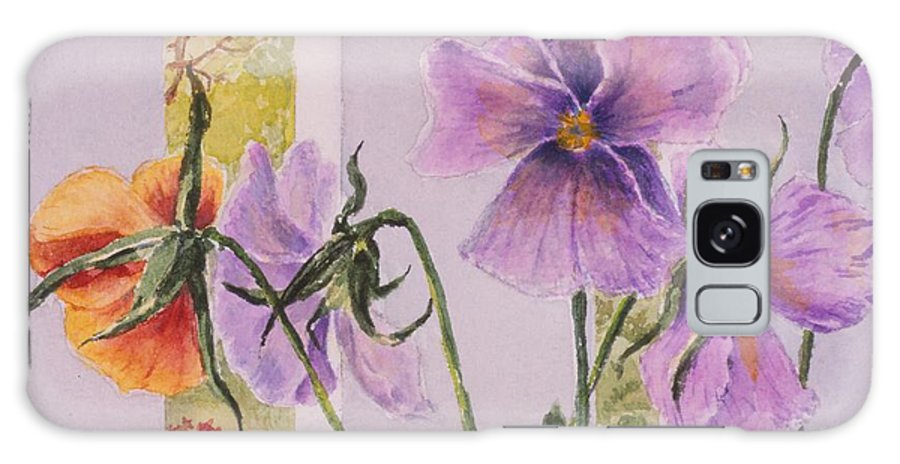 Florals Galaxy Case featuring the painting Pansies On My Porch by Mary Ellen Mueller Legault