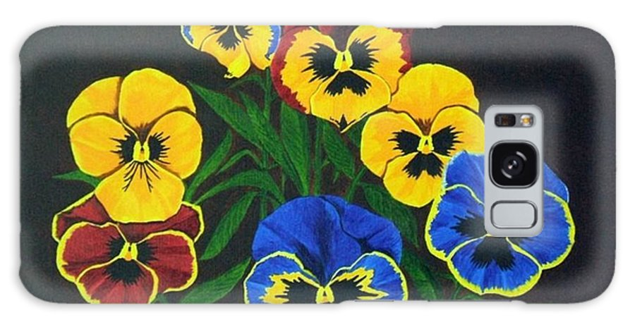 Pansies Galaxy S8 Case featuring the painting Pansy Lions by Brandy House