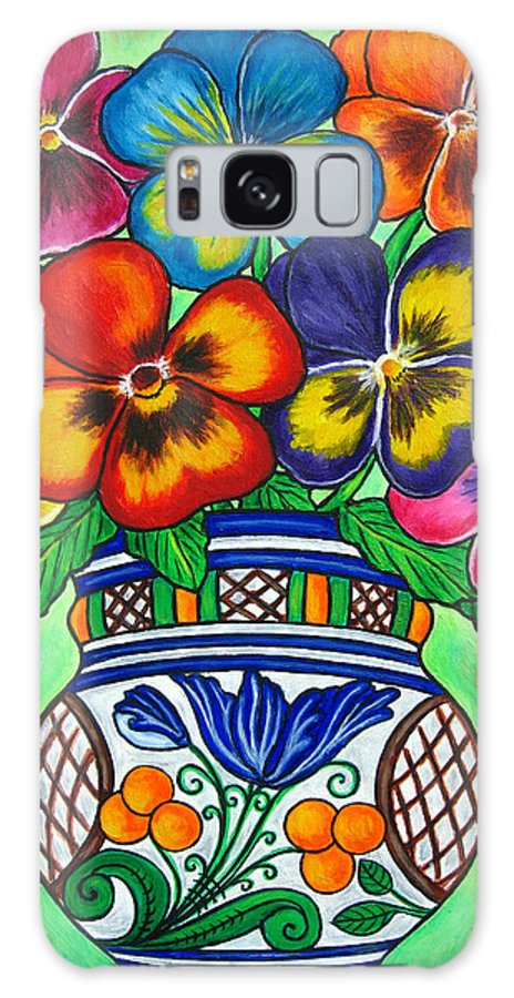 Flower Galaxy S8 Case featuring the painting Pansy Parade by Lisa Lorenz