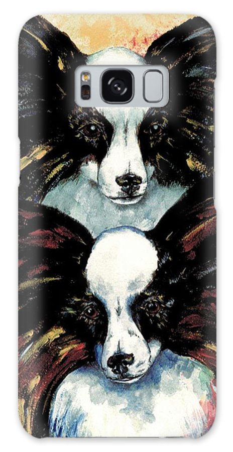 Papillon Galaxy S8 Case featuring the painting Papillon De Mardi Gras by Kathleen Sepulveda