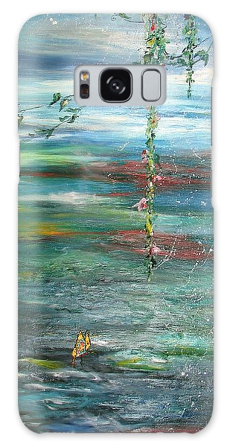 Watery Landscape With Hanging Vines And A Solitary Butterbly Galaxy S8 Case featuring the painting Pappilon by Sarah Wharton White