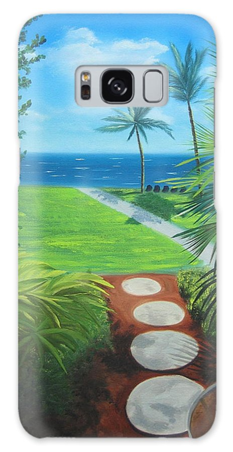 Seascape Galaxy S8 Case featuring the painting Paradise Beckons by Lea Novak