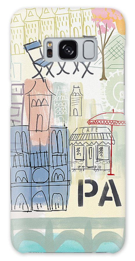 Paris Galaxy Case featuring the painting Paris Cityscape- Art by Linda Woods by Linda Woods