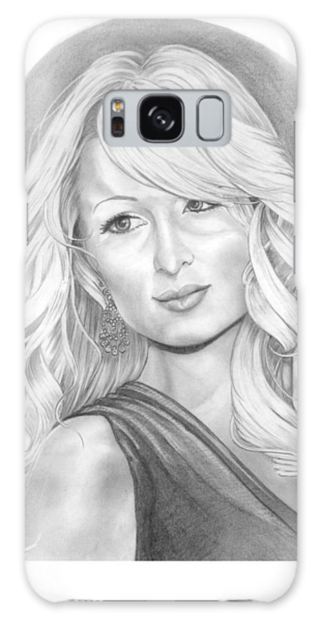 Portrait Galaxy S8 Case featuring the drawing Paris Hilton by Murphy Elliott