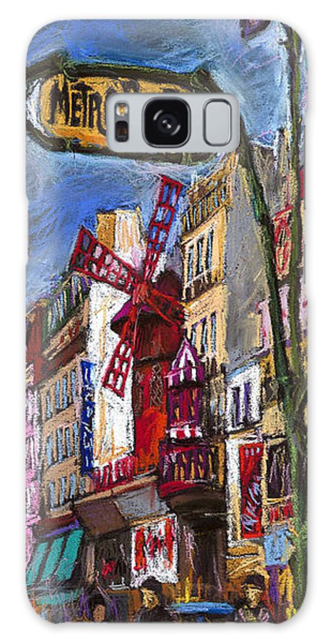 Cityscape Galaxy S8 Case featuring the painting Paris Mulen Rouge by Yuriy Shevchuk