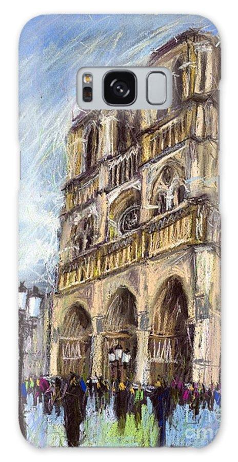 Cityscape Galaxy S8 Case featuring the pastel Paris Notre-dame De Paris by Yuriy Shevchuk