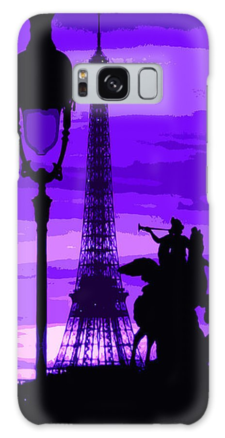 Paris Galaxy S8 Case featuring the photograph Paris Tour Eiffel Violet by Yuriy Shevchuk