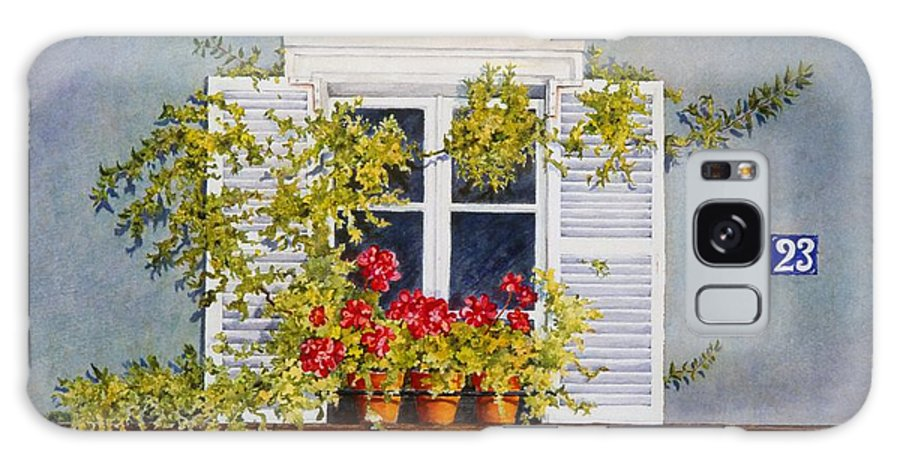 France Galaxy Case featuring the painting Parisian Window by Mary Ellen Mueller Legault