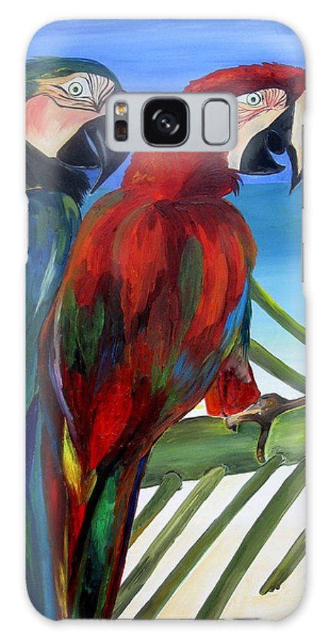 Parrots Galaxy S8 Case featuring the painting Parrots On The Beach by Patti Schermerhorn