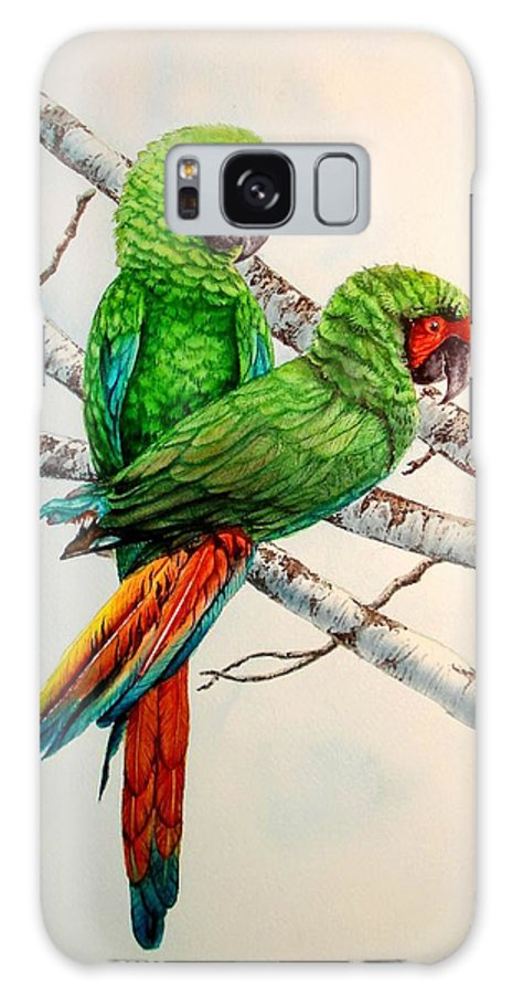 Birds Galaxy S8 Case featuring the painting Parrots by Sonya Catania