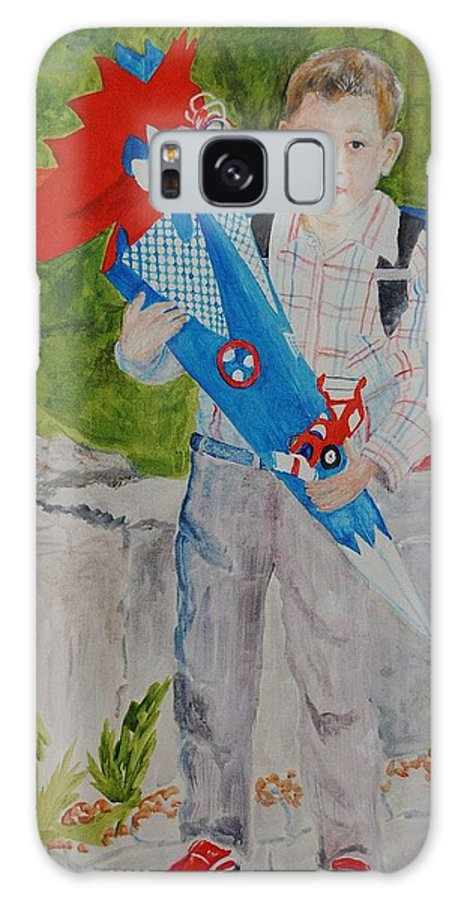School Galaxy Case featuring the painting Pascals First Day At School 2004 by Helmut Rottler