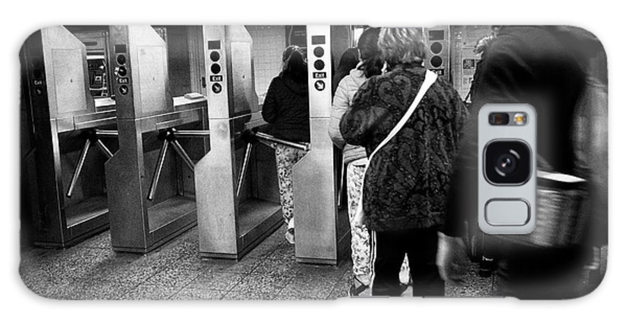 Subway Galaxy S8 Case featuring the photograph passengers moving through exit turnstiles in subway station New York City USA by Joe Fox