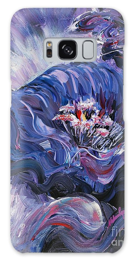 Blue Galaxy Case featuring the painting Passion In Blue by Nadine Rippelmeyer