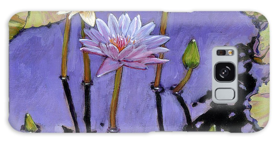 Water Lilies Galaxy Case featuring the painting Pastel Petals by John Lautermilch