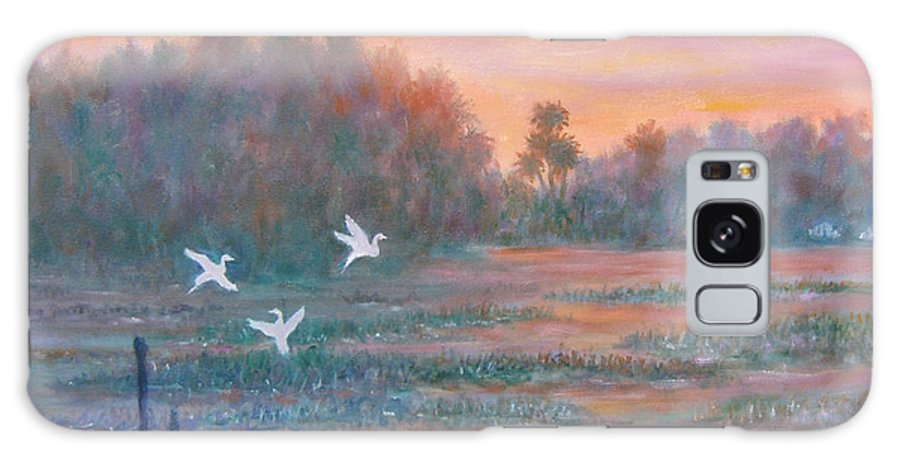 Low Country; Egrets; Sunset Galaxy Case featuring the painting Pawleys Island by Ben Kiger