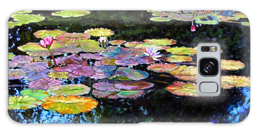 Water Lilies Galaxy S8 Case featuring the painting Peace Among The Lilies by John Lautermilch