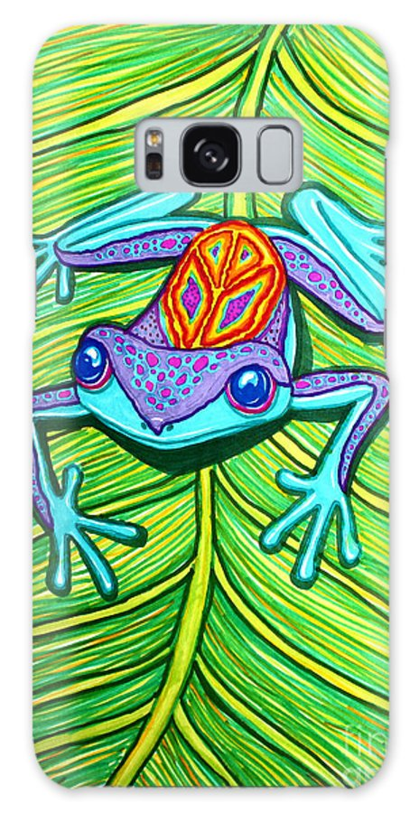 Peace Frog Galaxy S8 Case featuring the drawing Peace Frog On A Leaf by Nick Gustafson