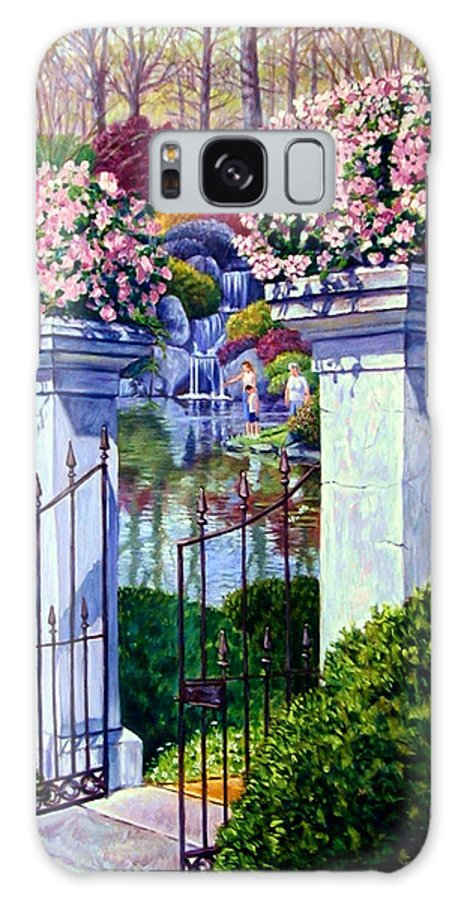 Garden Gates Galaxy S8 Case featuring the painting Peace In The Garden by John Lautermilch
