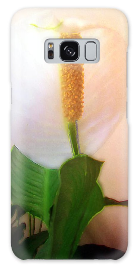 Flower Galaxy S8 Case featuring the painting Peace Lily Luminous by RC DeWinter