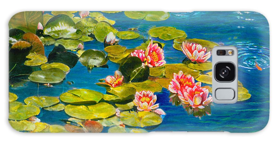 Water Lilies Galaxy Case featuring the painting Peaceful Belonging by Michael Durst