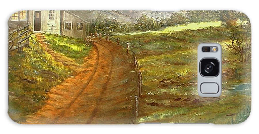 Landscape Galaxy Case featuring the painting Peaceful Country by Kenneth LePoidevin