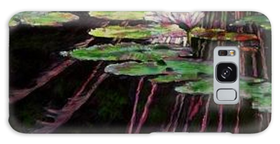 Quiet Pond With Water Lily And Reflections. Missouri Botanical Garden Galaxy Case featuring the painting Peaceful Reflections by John Lautermilch
