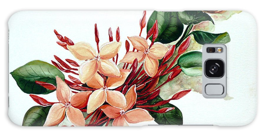Floral Peach Flower Watercolor Ixora Botanical Bloom Galaxy S8 Case featuring the painting Peachy Ixora by Karin Dawn Kelshall- Best
