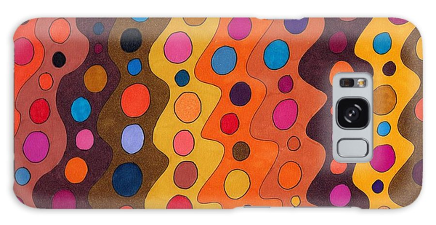 Abstract Multicolor Red Yellow Brown Orange Stripes Circles Fun Decor Wall Art Susan Epps Oliver Galaxy S8 Case featuring the drawing Peachy by Susan Epps Oliver