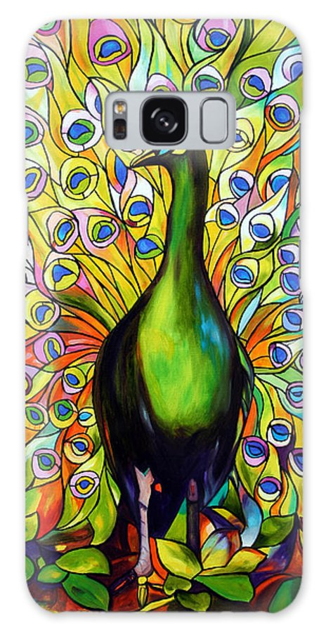 Bird Galaxy S8 Case featuring the painting Peacock by Jose Manuel Abraham