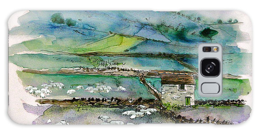 Paintings England Watercolour Travel Sketches Ink Drawings Art Landscape Paintings Town Galaxy Case featuring the painting Peak District Uk Travel Sketch by Miki De Goodaboom