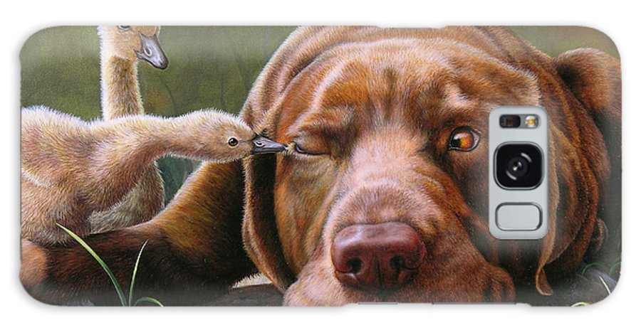 Labrador Galaxy S8 Case featuring the painting Pecking Order by Judy Schrader