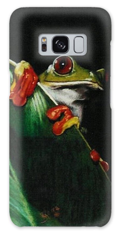 Frog Galaxy S8 Case featuring the drawing Peek-a-boo by Barbara Keith