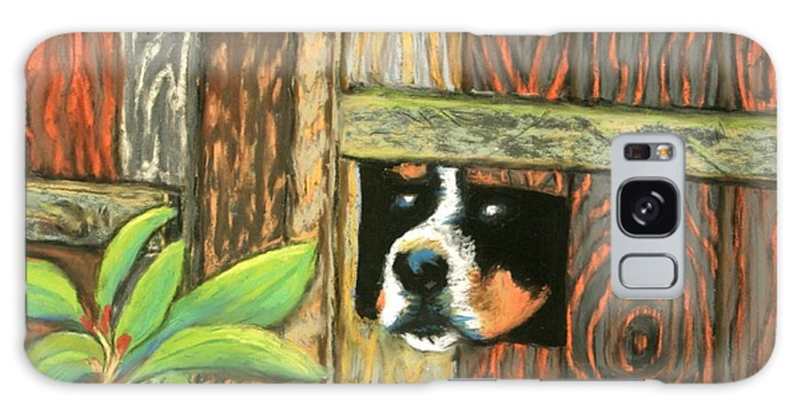 Dog Galaxy S8 Case featuring the painting Peek-a-boo Fence by Minaz Jantz