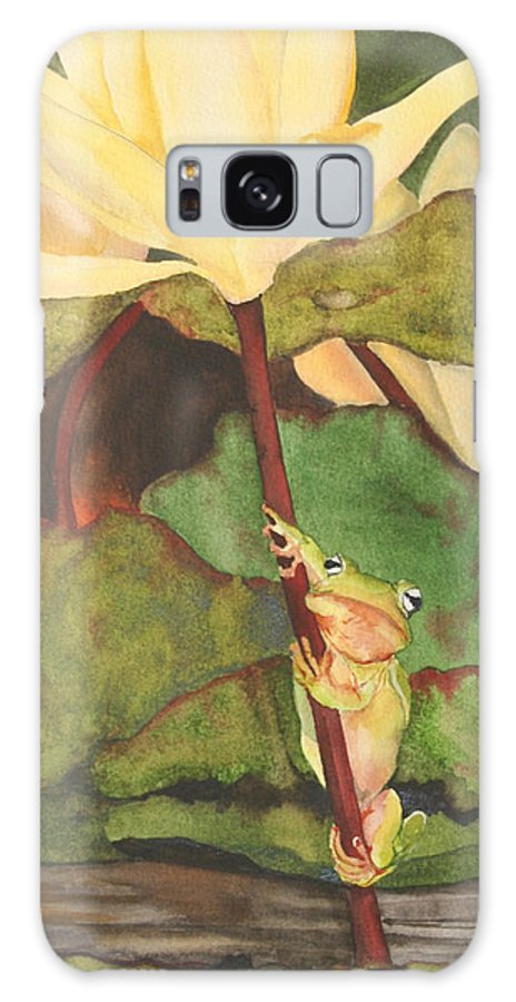 Frog Galaxy S8 Case featuring the painting Peeping Tom by Jean Blackmer