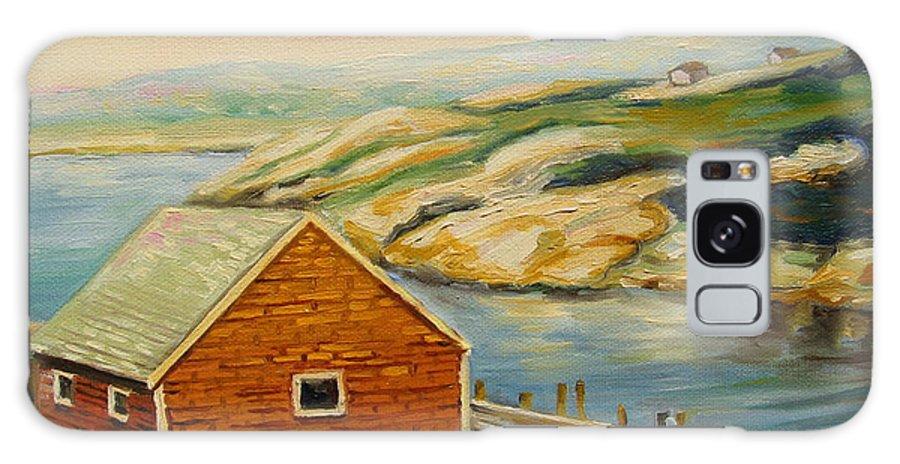 Peggy's Cove Harbor View Galaxy S8 Case featuring the painting Peggys Cove Harbor View by Carole Spandau