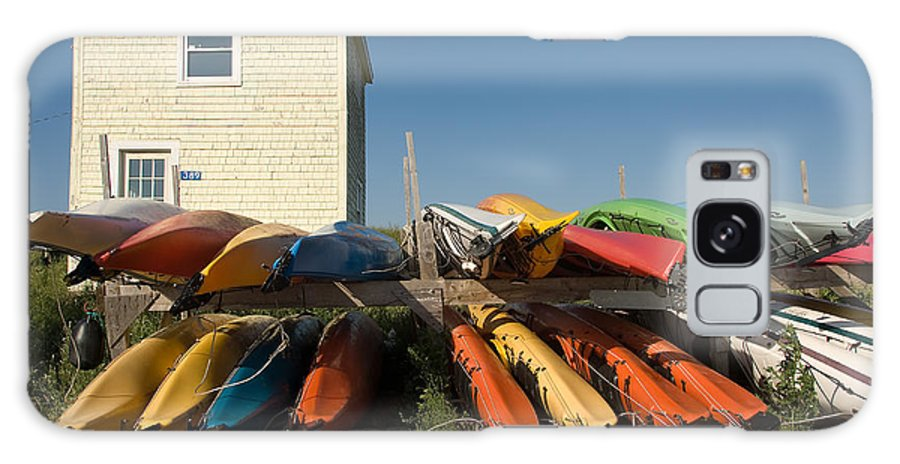 Scenic Galaxy Case featuring the photograph Pei Kayaks Building And Sky by Steve Somerville