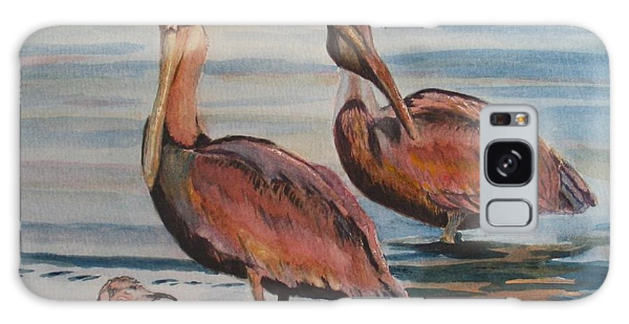 Pelicans Galaxy S8 Case featuring the painting Pelican Party by Karen Ilari