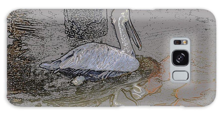 Pelican Galaxy S8 Case featuring the digital art Pelican Swim IIi Color Pencil by Jody Lovejoy