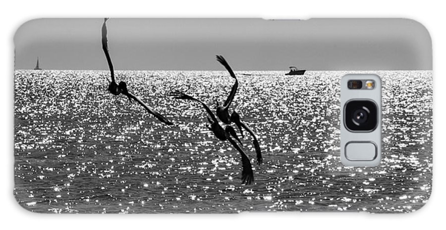 Pelican Galaxy S8 Case featuring the photograph Pelicans Flying By - Black And White by Bob Slitzan