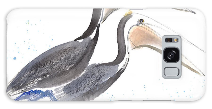 A Pair Of Pelican Is Perching On Rock. This Is A Contemporary Chinese Ink And Color On Rice Paper Painting With Simple Zen Style Brush Strokes.  Galaxy S8 Case featuring the painting Pelicans by Mui-Joo Wee